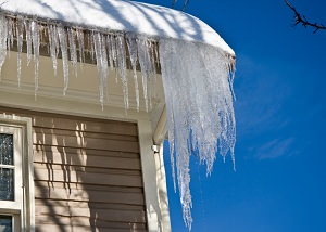 Ice damming on a PA home's roof and gutters