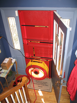 Blower door test for Wexford homes